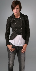 Lllia bib military leather jack 649